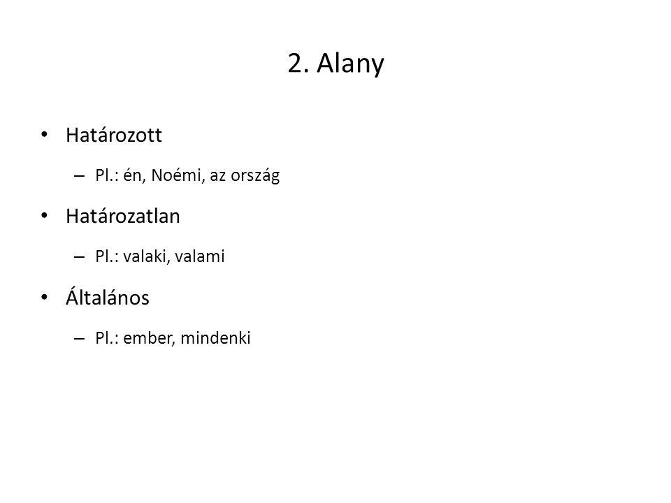 2. Alany Határozott – Pl.: én, Noémi, az ország Határozatlan – Pl.: valaki, valami Általános – Pl.: ember, mindenki