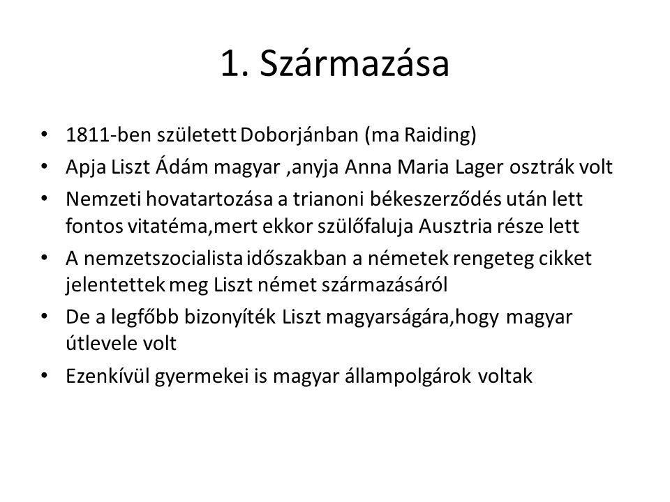 1. Származása 1811-ben született Doborjánban (ma Raiding) Apja Liszt Ádám magyar,anyja Anna Maria Lager osztrák volt Nemzeti hovatartozása a trianoni