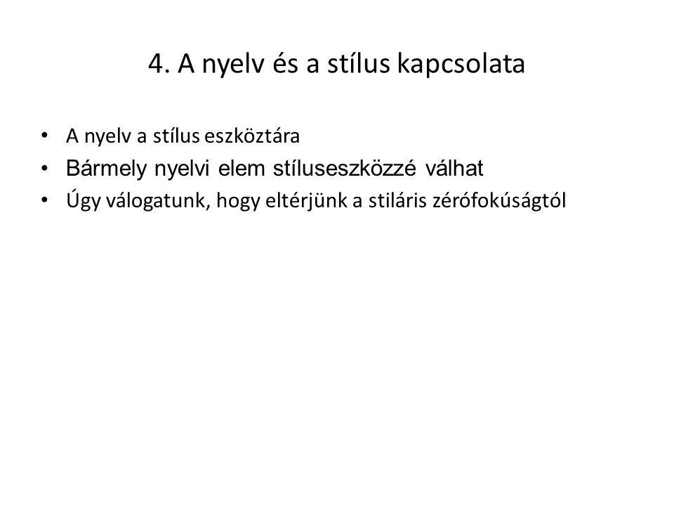 4. A nyelv és a stílus kapcsolata A nyelv a stílus eszköztára Bármely nyelvi elem stíluseszközzé válhat Úgy válogatunk, hogy eltérjünk a stiláris zéró
