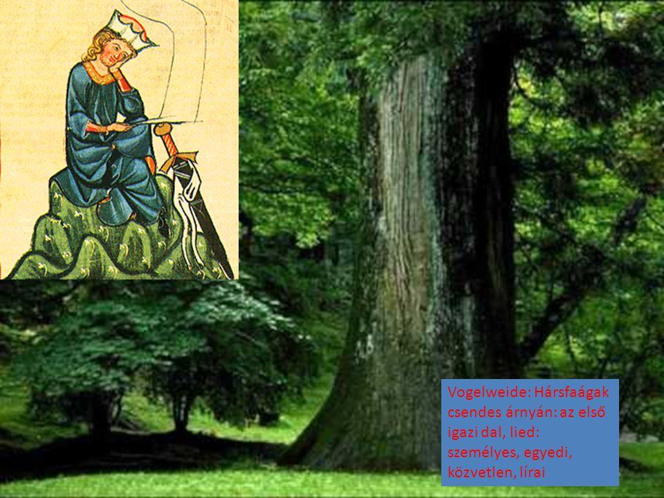 Vogelweide: Hársfaágak csendes árnyán: az első igazi dal, lied: személyes, egyedi, közvetlen, lírai
