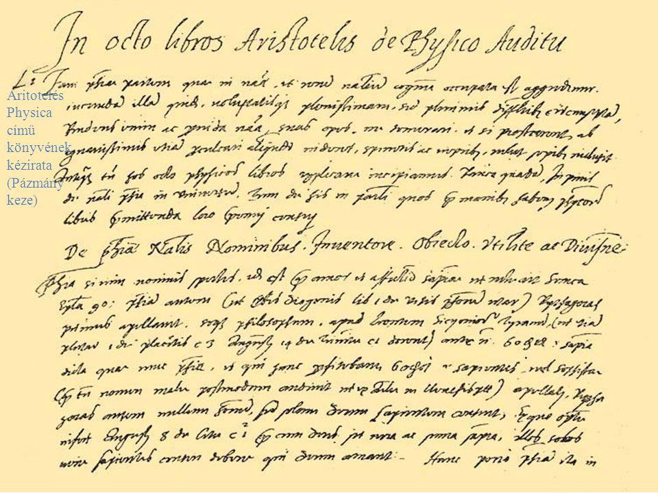 Aritotelés Physica című könyvének kézirata (Pázmány keze)