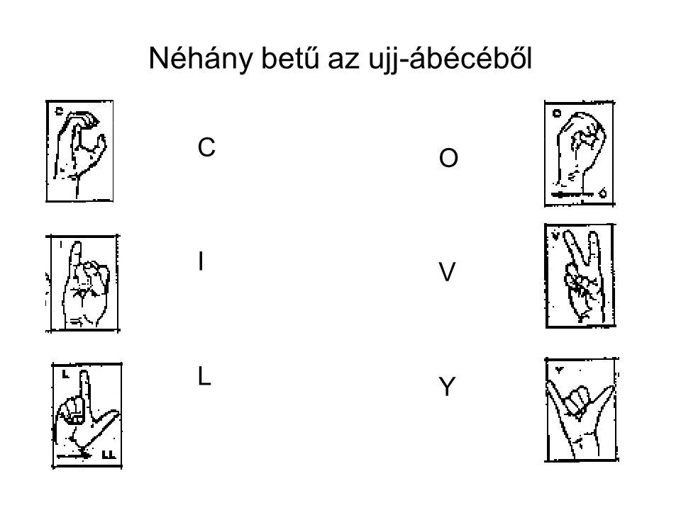 Néhány betű az ujj-ábécéből CILCIL OVYOVY