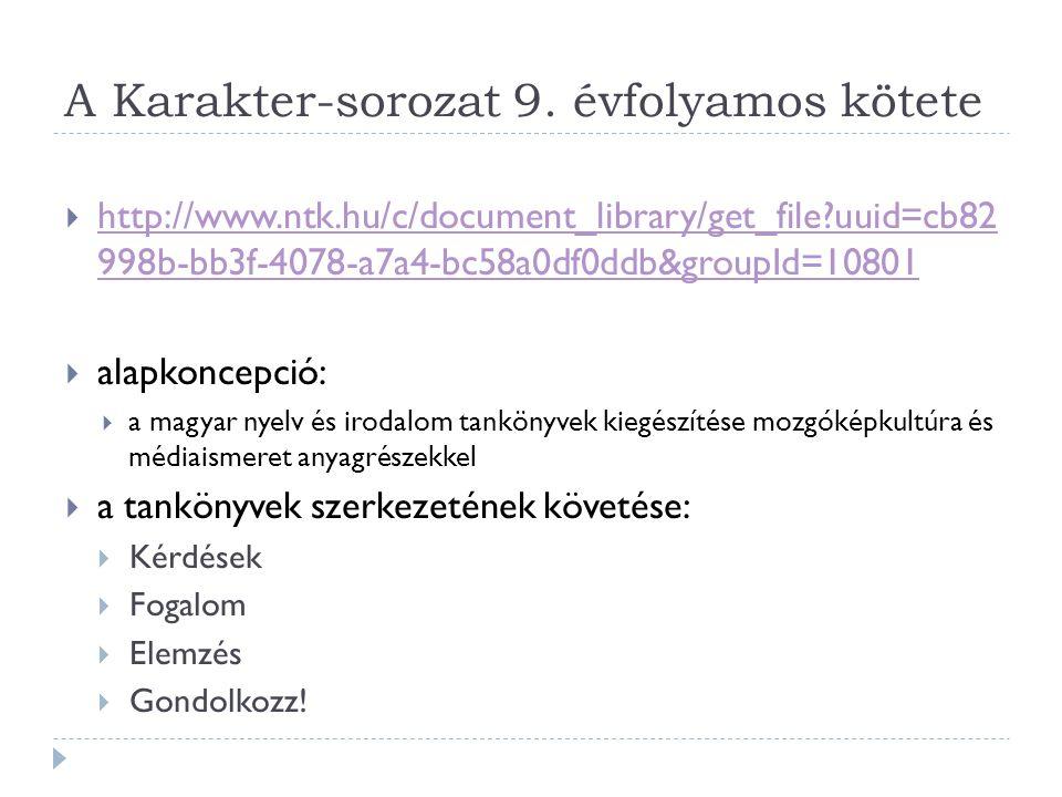 A Karakter-sorozat 9. évfolyamos kötete  http://www.ntk.hu/c/document_library/get_file?uuid=cb82 998b-bb3f-4078-a7a4-bc58a0df0ddb&groupId=10801 http:
