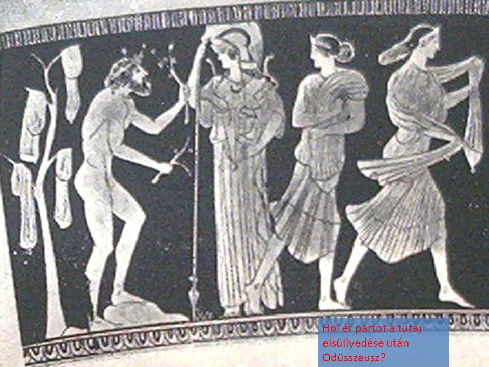 Hol ér partot a tutaj elsüllyedése után Odüsszeusz?