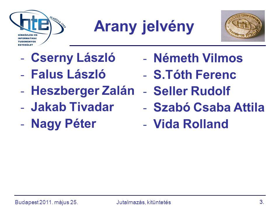 3. - Cserny László - Falus László - Heszberger Zalán - Jakab Tivadar - Nagy Péter Arany jelvény - Németh Vilmos - S.Tóth Ferenc - Seller Rudolf - Szab