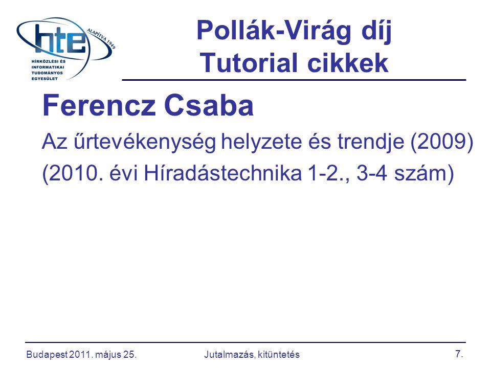 7. Pollák-Virág díj Tutorial cikkek Ferencz Csaba Az űrtevékenység helyzete és trendje (2009) (2010. évi Híradástechnika 1-2., 3-4 szám) 7. Budapest 2
