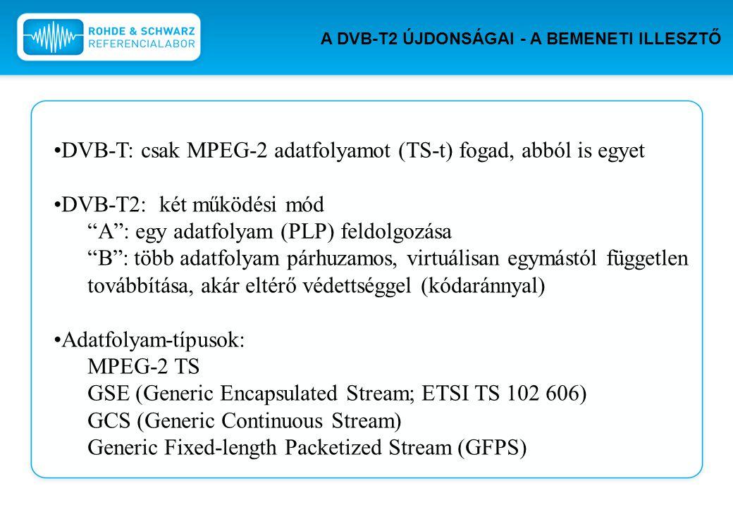 """DVB-T: csak MPEG-2 adatfolyamot (TS-t) fogad, abból is egyet DVB-T2: két működési mód """"A"""": egy adatfolyam (PLP) feldolgozása """"B"""": több adatfolyam párh"""
