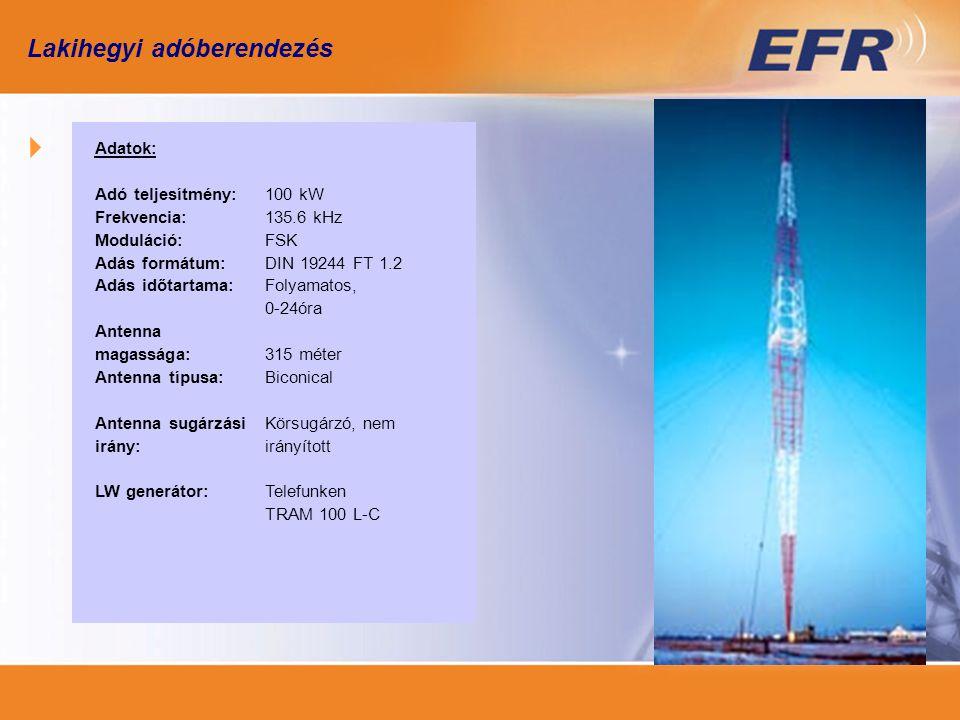Adatok: Adó teljesítmény: Frekvencia: Moduláció: Adás formátum: Adás időtartama: Antenna magassága: Antenna típusa: Antenna sugárzási irány: LW generátor: 100 kW 135.6 kHz FSK DIN 19244 FT 1.2 Folyamatos, 0-24óra 315 méter Biconical Körsugárzó, nem irányított Telefunken TRAM 100 L-C Lakihegyi adóberendezés