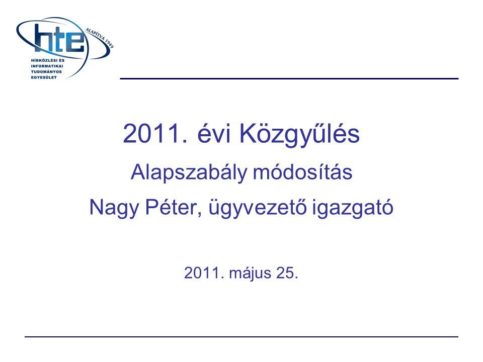 Módosítás háttere A HTE pénzügyi helyzete megváltozott A saját díjainkhoz (Puskás, Pollák-Virág, Kempelen Farkas, arany-, ezüst jelvény) járó pénzjutalmak az Alapszabályban rögzítettek Választmány, Elnökség tárgyalta támogatta Budapest 2011.