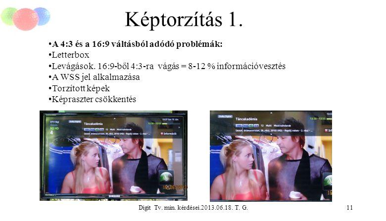 Digit Tv. min. kérdései.2013.06.18. T. G.11 Képtorzítás 1. A 4:3 és a 16:9 váltásból adódó problémák: Letterbox Levágások. 16:9-ből 4:3-ra vágás = 8-1