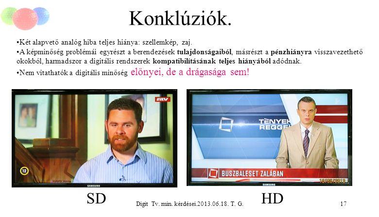 Digit Tv. min. kérdései.2013.06.18. T. G.17 Konklúziók. Két alapvető analóg hiba teljes hiánya: szellemkép, zaj. A képminőség problémái egyrészt a ber