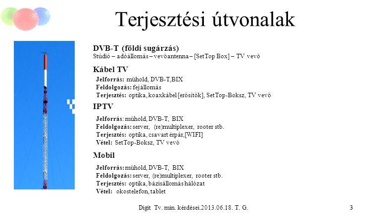 Digit Tv. min. kérdései.2013.06.18. T. G.3 Terjesztési útvonalak 3 DVB-T (földi sugárzás) Stúdió – adóállomás – vevőantenna – [SetTop Box] – TV vevő K
