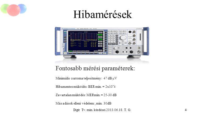 Digit Tv. min. kérdései.2013.06.18. T. G.4 Hibamérések 4 Fontosabb mérési paraméterek: Minimális csatorna teljesítmény: 47 dB µV Hibamentes működés: B