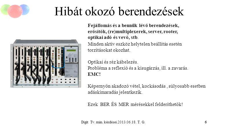 Digit Tv. min. kérdései.2013.06.18. T. G.6 Hibát okozó berendezések 6 Fejállomás és a bennük lévő berendezések, erősítők, (re)multiplexerek, server, r