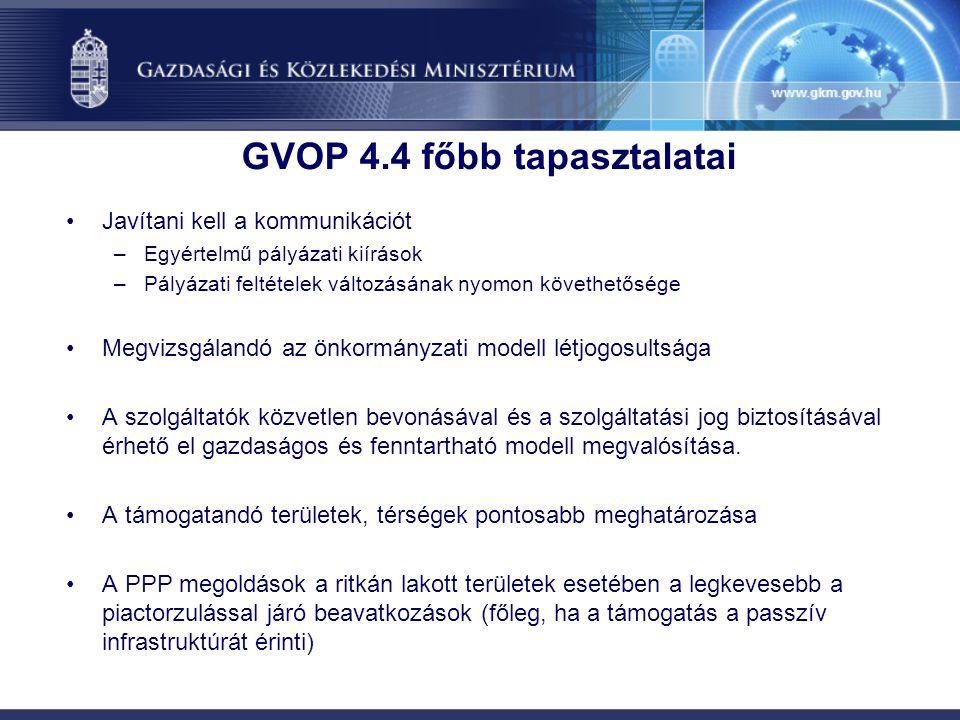 GVOP 4.4 főbb tapasztalatai Javítani kell a kommunikációt –Egyértelmű pályázati kiírások –Pályázati feltételek változásának nyomon követhetősége Megvizsgálandó az önkormányzati modell létjogosultsága A szolgáltatók közvetlen bevonásával és a szolgáltatási jog biztosításával érhető el gazdaságos és fenntartható modell megvalósítása.