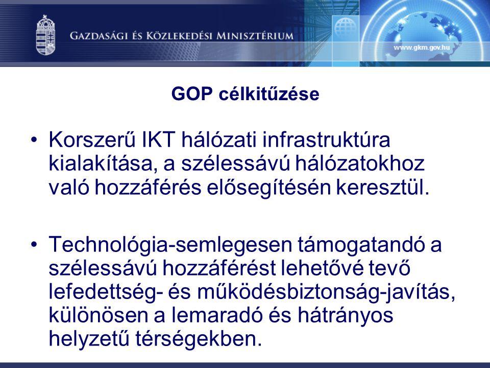 GOP célkitűzése Korszerű IKT hálózati infrastruktúra kialakítása, a szélessávú hálózatokhoz való hozzáférés elősegítésén keresztül.