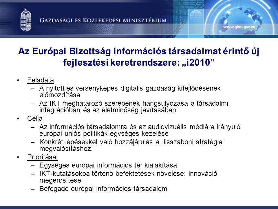 """Az Európai Bizottság információs társadalmat érintő új fejlesztési keretrendszere: """"i2010 Feladata –A nyitott és versenyképes digitális gazdaság kifejlődésének előmozdítása –Az IKT meghatározó szerepének hangsúlyozása a társadalmi integrációban és az életminőség javításában Célja –Az információs társadalomra és az audiovizuális médiára irányuló európai uniós politikák egységes kezelése –Konkrét lépésekkel való hozzájárulás a """"lisszaboni stratégia megvalósításhoz."""