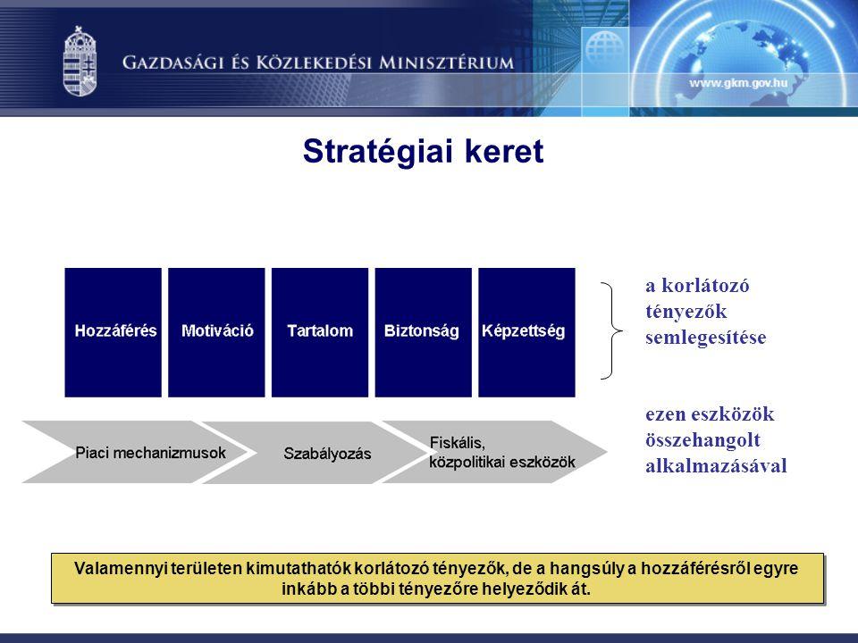 a korlátozó tényezők semlegesítése ezen eszközök összehangolt alkalmazásával Stratégiai keret Valamennyi területen kimutathatók korlátozó tényezők, de a hangsúly a hozzáférésről egyre inkább a többi tényezőre helyeződik át.