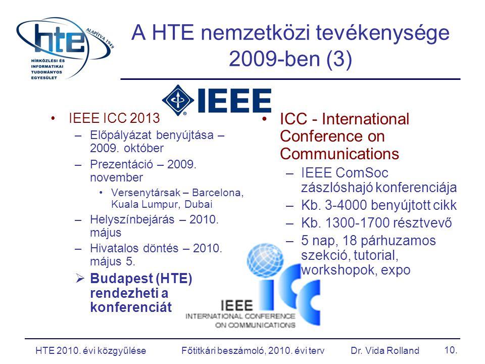 A HTE nemzetközi tevékenysége 2009-ben (3) IEEE ICC 2013 –Előpályázat benyújtása – 2009.