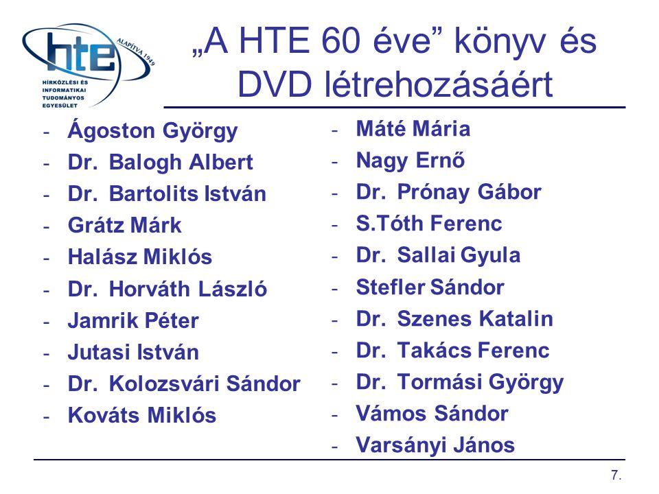 """7. """"A HTE 60 éve"""" könyv és DVD létrehozásáért - Ágoston György - Dr.Balogh Albert - Dr.Bartolits István - Grátz Márk - Halász Miklós - Dr.Horváth Lász"""