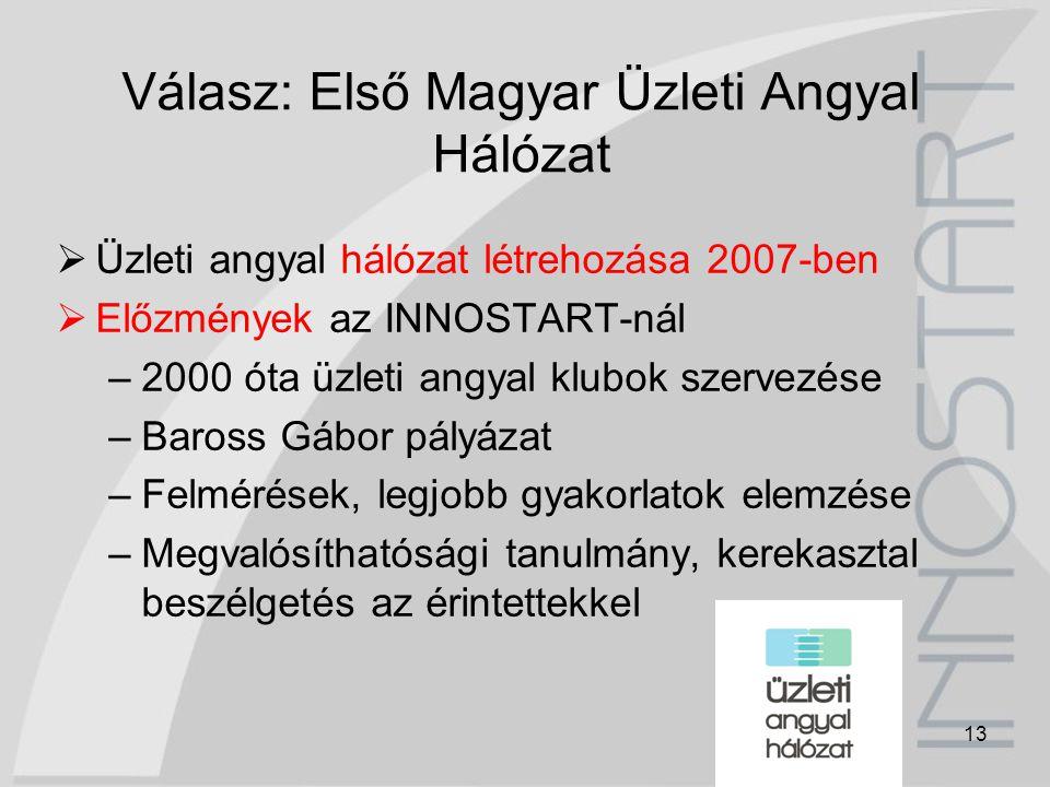 13 Válasz: Első Magyar Üzleti Angyal Hálózat  Üzleti angyal hálózat létrehozása 2007-ben  Előzmények az INNOSTART-nál –2000 óta üzleti angyal klubok
