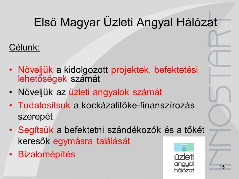 15 Első Magyar Üzleti Angyal Hálózat Célunk: Növeljük a kidolgozott projektek, befektetési lehetőségek számát Növeljük az üzleti angyalok számát Tudat