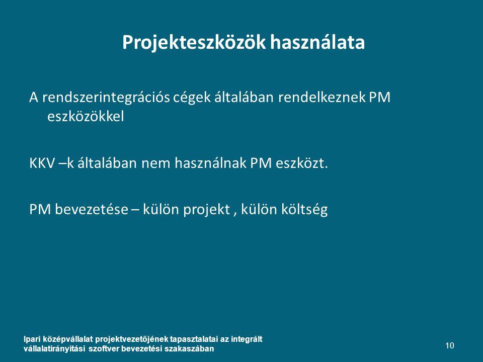 Projekteszközök használata Ipari középvállalat projektvezetőjének tapasztalatai az integrált vállalatirányítási szoftver bevezetési szakaszában 10 A rendszerintegrációs cégek általában rendelkeznek PM eszközökkel KKV –k általában nem használnak PM eszközt.