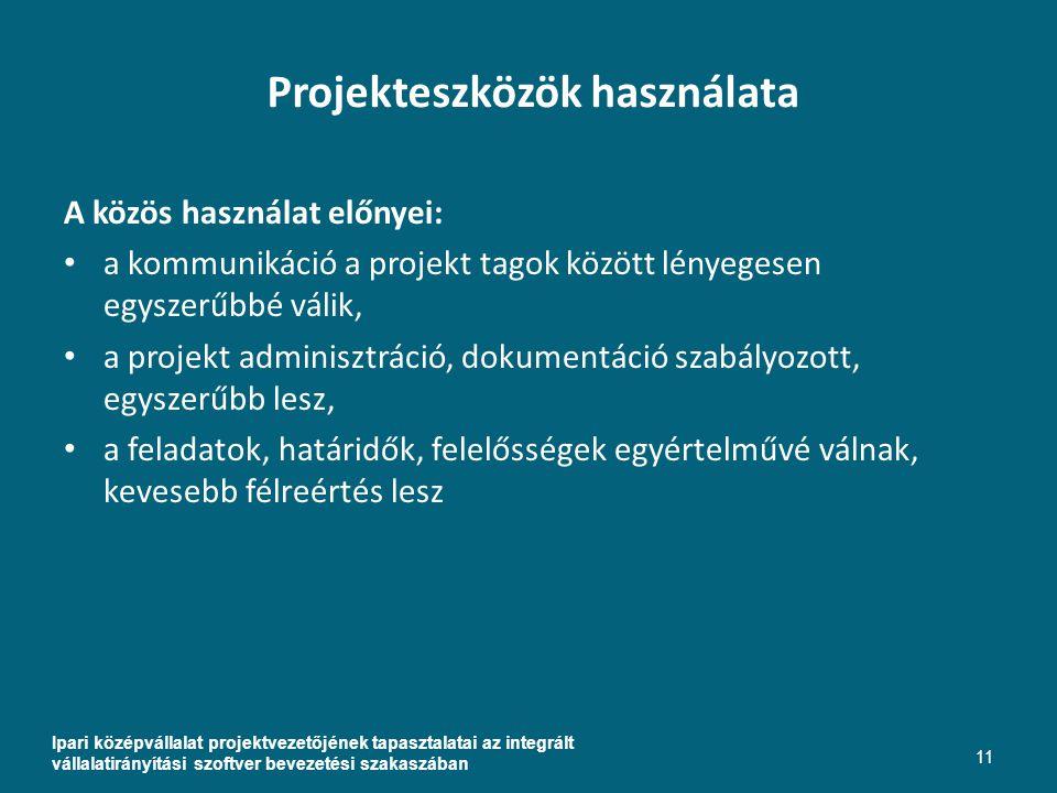 Projekteszközök használata Ipari középvállalat projektvezetőjének tapasztalatai az integrált vállalatirányítási szoftver bevezetési szakaszában 11 A közös használat előnyei: a kommunikáció a projekt tagok között lényegesen egyszerűbbé válik, a projekt adminisztráció, dokumentáció szabályozott, egyszerűbb lesz, a feladatok, határidők, felelősségek egyértelművé válnak, kevesebb félreértés lesz