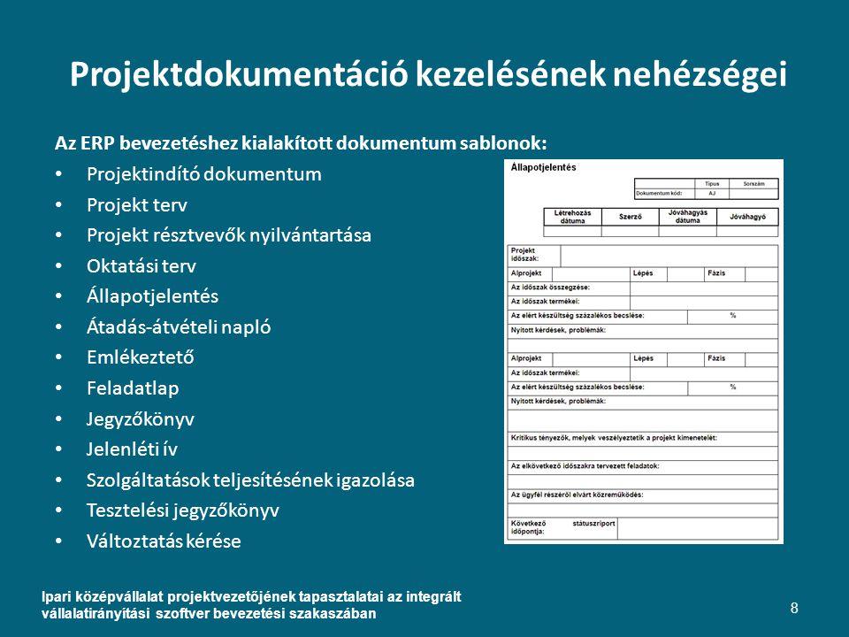 Projektdokumentáció kezelésének nehézségei Az ERP bevezetéshez kialakított dokumentum sablonok: Projektindító dokumentum Projekt terv Projekt résztvevők nyilvántartása Oktatási terv Állapotjelentés Átadás-átvételi napló Emlékeztető Feladatlap Jegyzőkönyv Jelenléti ív Szolgáltatások teljesítésének igazolása Tesztelési jegyzőkönyv Változtatás kérése Ipari középvállalat projektvezetőjének tapasztalatai az integrált vállalatirányítási szoftver bevezetési szakaszában 8