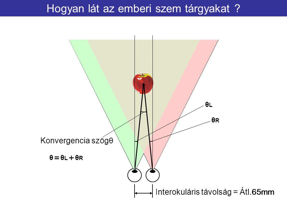 Hogyan lát az emberi szem tárgyakat ? Interokuláris távolság = Átl.65mm Konvergencia szögθ θLθL θRθR θ=θL+θRθ=θL+θR