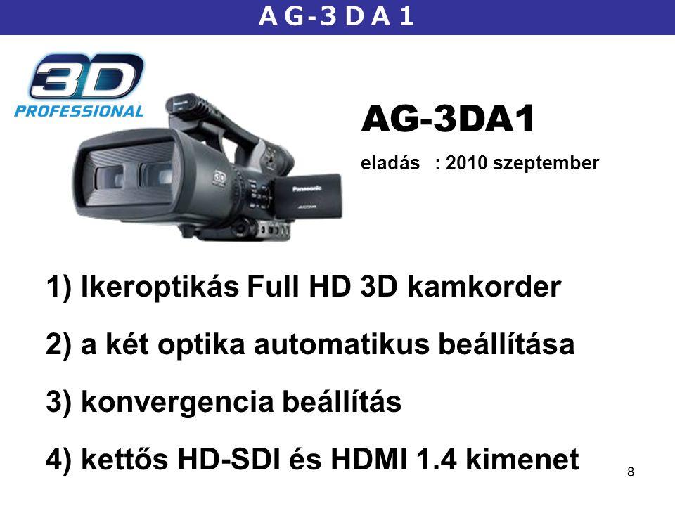 8 AG - 3DA1 AG-3DA1 eladás : 2010 szeptember 1) Ikeroptikás Full HD 3D kamkorder 2) a két optika automatikus beállítása 3) konvergencia beállítás 4) k