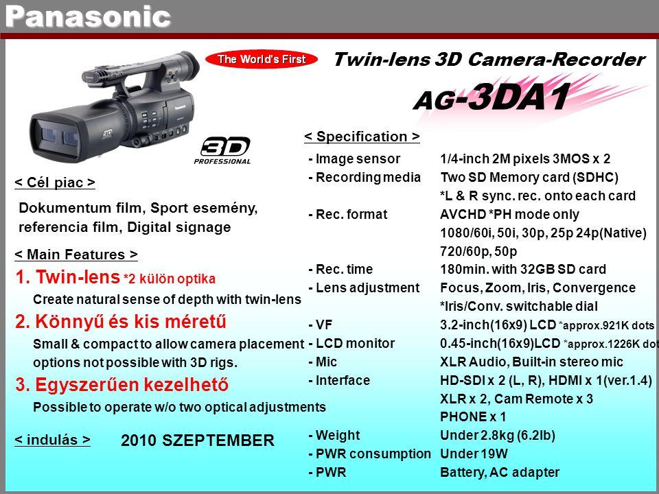Panasonic AG -3DA1 Twin-lens 3D Camera-Recorder - Image sensor1/4-inch 2M pixels 3MOS x 2 - Recording mediaTwo SD Memory card (SDHC) *L & R sync. rec.