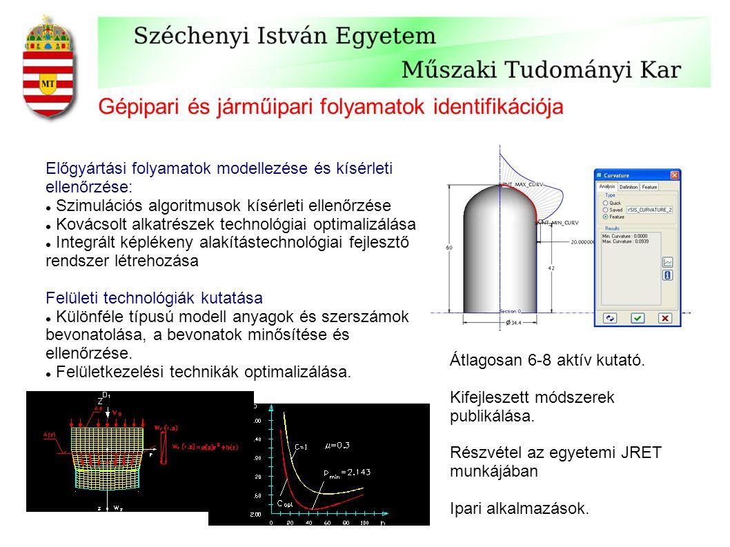Gépipari és járműipari folyamatok identifikációja Előgyártási folyamatok modellezése és kísérleti ellenőrzése: Szimulációs algoritmusok kísérleti ellenőrzése Kovácsolt alkatrészek technológiai optimalizálása Integrált képlékeny alakítástechnológiai fejlesztő rendszer létrehozása Felületi technológiák kutatása Különféle típusú modell anyagok és szerszámok bevonatolása, a bevonatok minősítése és ellenőrzése.