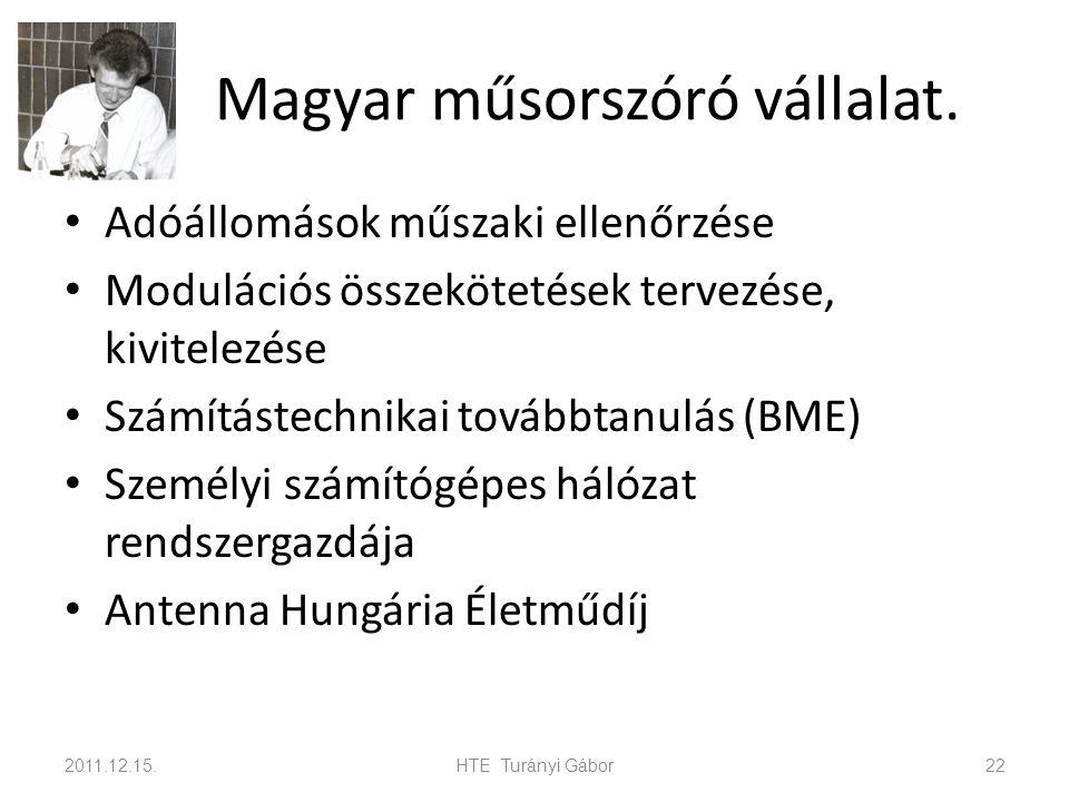 Magyar műsorszóró vállalat. Adóállomások műszaki ellenőrzése Modulációs összekötetések tervezése, kivitelezése Számítástechnikai továbbtanulás (BME) S
