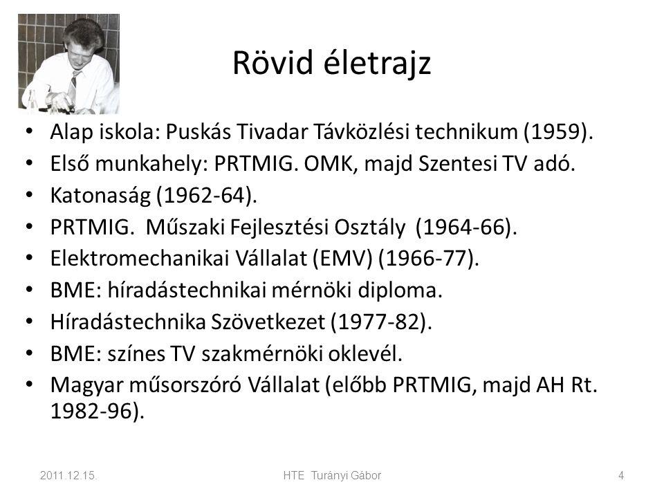 Rövid életrajz Alap iskola: Puskás Tivadar Távközlési technikum (1959). Első munkahely: PRTMIG. OMK, majd Szentesi TV adó. Katonaság (1962-64). PRTMIG