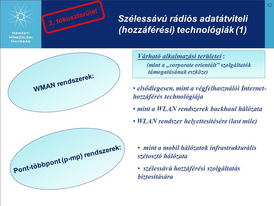 """12 Pont-többpont (p-mp) rendszerek: elsődlegesen, mint a végfelhasználói Internet- hozzáférés technológiája mint a WLAN rendszerek backhaul hálózata WLAN rendszer helyettesítésére (last mile) mint a mobil hálózatok infrastrukturális szétosztó hálózata szélessávú hozzáférési szolgáltatás biztosítására Szélessávú rádiós adatátviteli (hozzáférési) technológiák (1) WMAN rendszerek: Várható alkalmazási területei : (mint a """"corporate orientált szolgáltatók támogatásának eszköze)"""