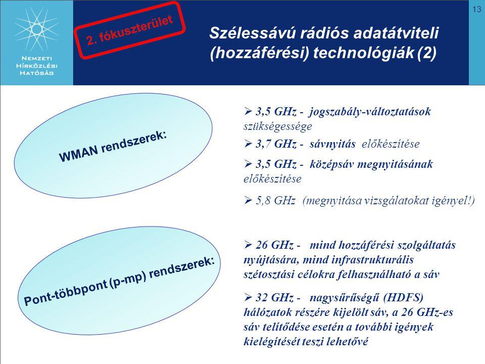 13 WMAN rendszerek: Pont-többpont (p-mp) rendszerek: Szélessávú rádiós adatátviteli (hozzáférési) technológiák (2)  3,5 GHz - jogszabály-változtatások szükségessége  3,7 GHz - sávnyitás előkészítése  3,5 GHz - középsáv megnyitásának előkészítése  5,8 GHz (megnyitása vizsgálatokat igényel!)  26 GHz - mind hozzáférési szolgáltatás nyújtására, mind infrastrukturális szétosztási célokra felhasználható a sáv  32 GHz - nagysűrűségű (HDFS) hálózatok részére kijelölt sáv, a 26 GHz-es sáv telítődése esetén a további igények kielégítését teszi lehetővé