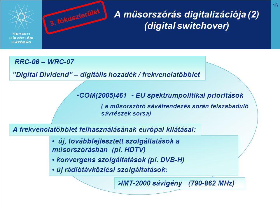 16 A műsorszórás digitalizációja (2) (digital switchover) COM(2005)461 - EU spektrumpolitikai prioritások ( a műsorszóró sávátrendezés során felszabad
