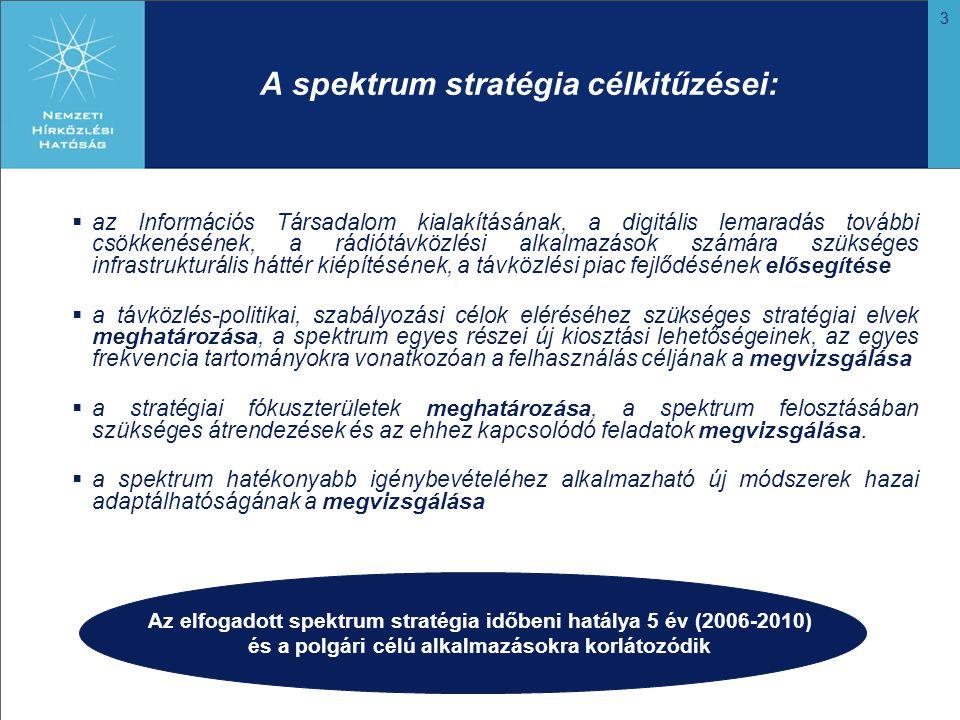 3 A spektrum stratégia célkitűzései:  az Információs Társadalom kialakításának, a digitális lemaradás további csökkenésének, a rádiótávközlési alkalmazások számára szükséges infrastrukturális háttér kiépítésének, a távközlési piac fejlődésének elősegítése  a távközlés-politikai, szabályozási célok eléréséhez szükséges stratégiai elvek meghatározása, a spektrum egyes részei új kiosztási lehetőségeinek, az egyes frekvencia tartományokra vonatkozóan a felhasználás céljának a megvizsgálása  a stratégiai fókuszterületek meghatározása, a spektrum felosztásában szükséges átrendezések és az ehhez kapcsolódó feladatok megvizsgálása.