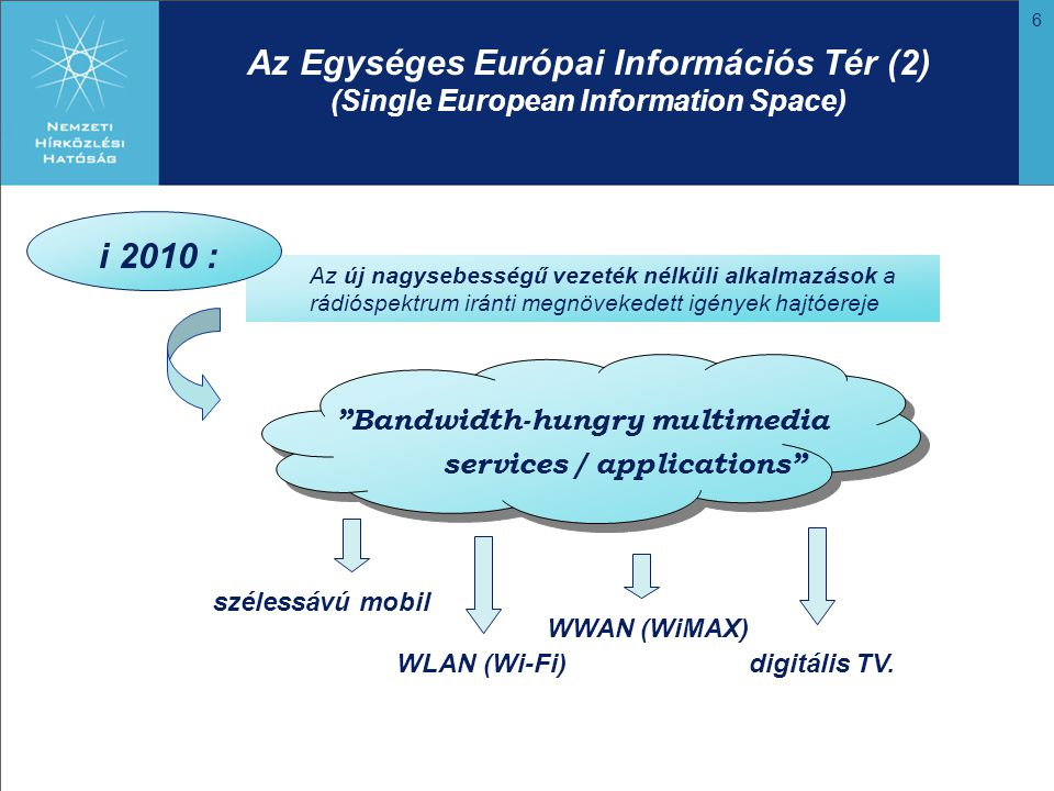 6 Az Egységes Európai Információs Tér (2) (Single European Information Space) Az új nagysebességű vezeték nélküli alkalmazások a rádióspektrum iránti