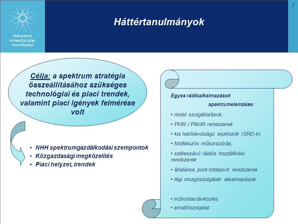 7 Háttértanulmányok Célja: a spektrum stratégia összeállításához szükséges technológiai és piaci trendek, valamint piaci igények felmérése volt NHH spektrumgazdálkodási szempontok Közgazdasági megközelítés Piaci helyzet, trendek Egyes rádióalkalmazások spektrumelemzése: mobil szolgáltatások, PMR / PAMR rendszerek kis hatótávolságú eszközök (SRD-k) földfelszíni műsorszórás, szélessávú rádiós hozzáférési rendszerek általános pont-többpont rendszerek légi mozgószolgálati alkalmazások műholdas távközlés, amatőrszolgálat