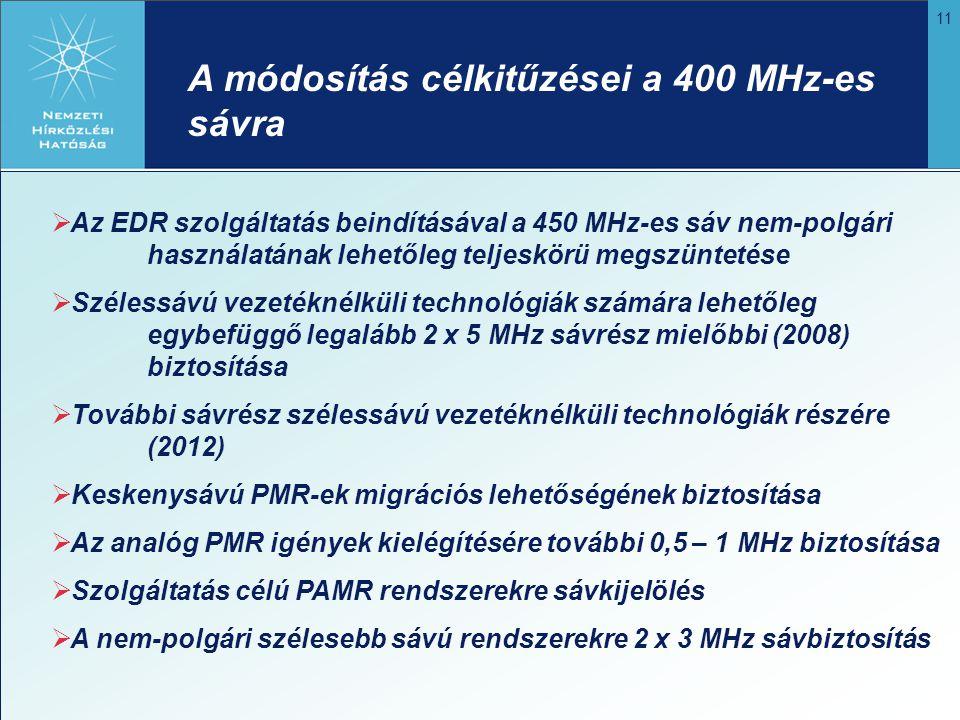 11 A módosítás célkitűzései a 400 MHz-es sávra  Az EDR szolgáltatás beindításával a 450 MHz-es sáv nem-polgári használatának lehetőleg teljeskörü meg