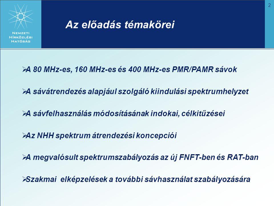 2 Az előadás témakörei  A 80 MHz-es, 160 MHz-es és 400 MHz-es PMR/PAMR sávok  A sávátrendezés alapjául szolgáló kiindulási spektrumhelyzet  A sávfe