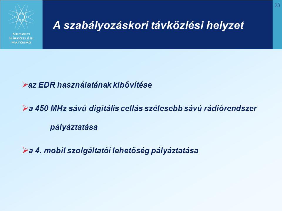 23 A szabályozáskori távközlési helyzet  az EDR használatának kibővítése  a 450 MHz sávú digitális cellás szélesebb sávú rádiórendszer pályáztatása