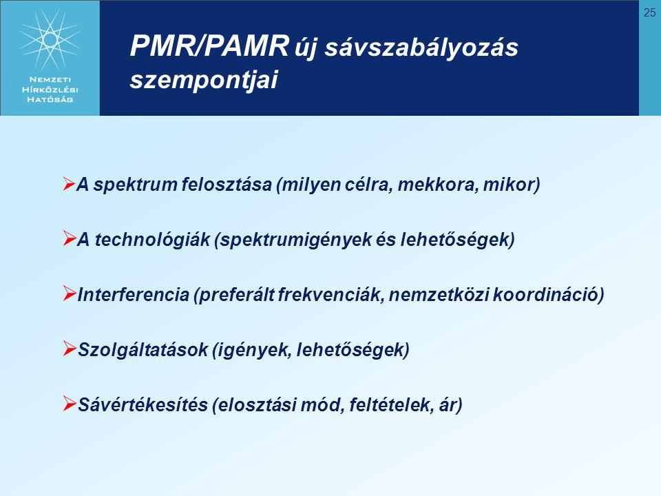 25 PMR/PAMR új sávszabályozás szempontjai  A spektrum felosztása (milyen célra, mekkora, mikor)  A technológiák (spektrumigények és lehetőségek)  I