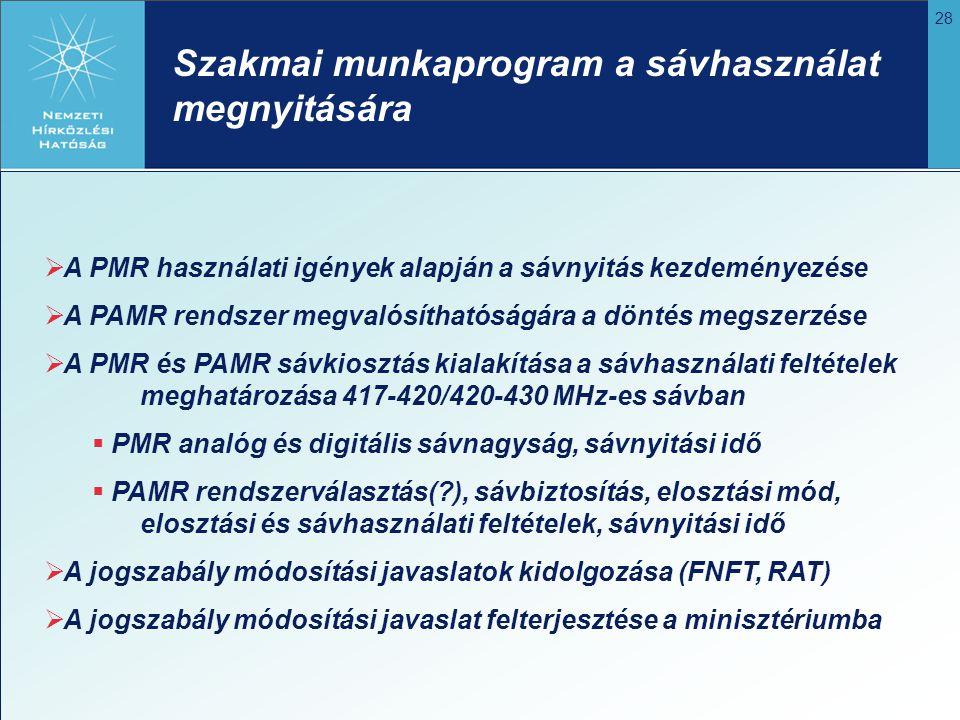 28  A PMR használati igények alapján a sávnyitás kezdeményezése  A PAMR rendszer megvalósíthatóságára a döntés megszerzése  A PMR és PAMR sávkioszt