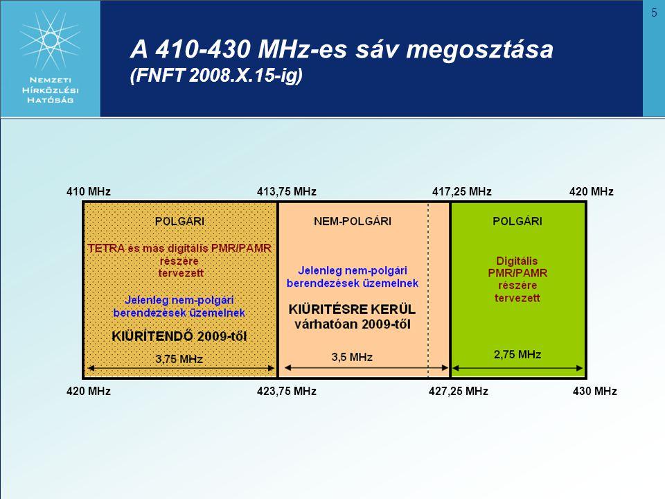 6 450 MHz 451,3 MHz 452,74MHz 455,16MHz 457,38 MHz 458,56 MHz 460MHz 460 MHz 461,3 MHz 462,74 MHz 465,16 MHz 467,38 MHz 458,56 MHz 470 MHz NB és WB digitális PMR/PAMR földi mozgó rádiótelefon rendszerek részére előirányozva Polgári mozgóra fenntartott Polgári harmonizált európaira tervezett A 450-470 MHz-es sáv megosztása (FNFT 2008.X.15-ig)