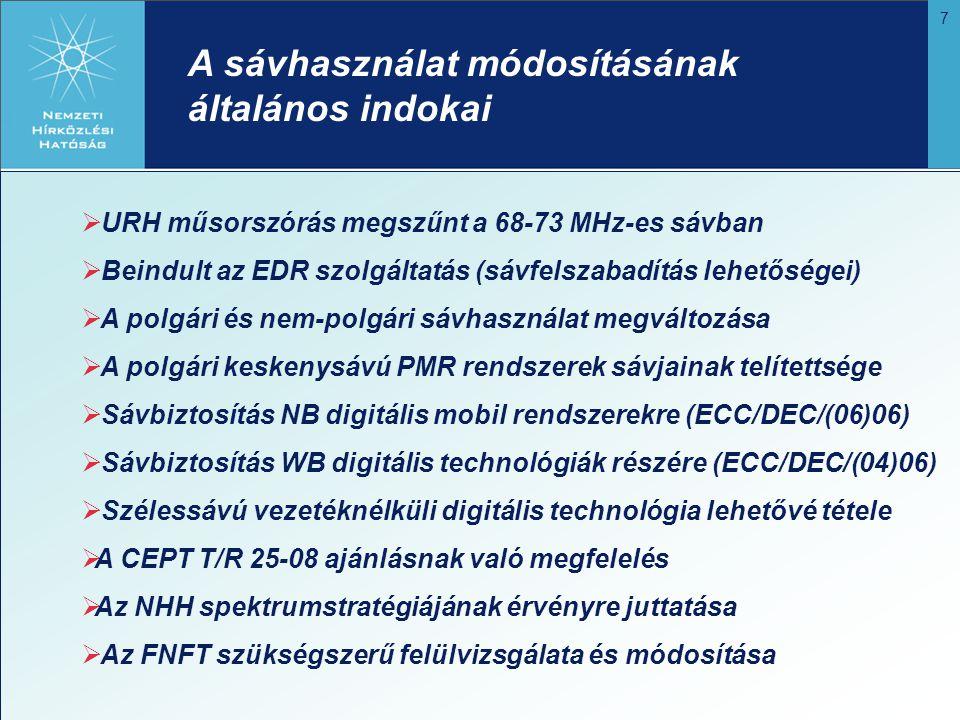 8 A módosítás célkitűzései a 80 és 160 MHz-es sávra  A 80 MHz-es sáv polgári felhasználásának fokozatos megszüntetése  A 160 MHz-es sávban fokozatosan növekedjen a polgári felhasználhatóság  Megfelelő nagyságú 2 x 1-1,2 MHz duplex és 0,5 MHz szimplex spektrum analóg NB PMR alkalmazásokra a 160 MHz-es sávban  Különálló, egybefüggő 0,3-0,4 MHz szimplex és 2 x 1-1,5 MHz részsáv digitális NB PMR alkalmazásokra a 160 MHz-es sávban (ECC/DEC/(06)06 határozat)  A sávátrendezések a lehető legkisebb költséggel járjanak  A frekvenciahasználat hatékonyságának növelése