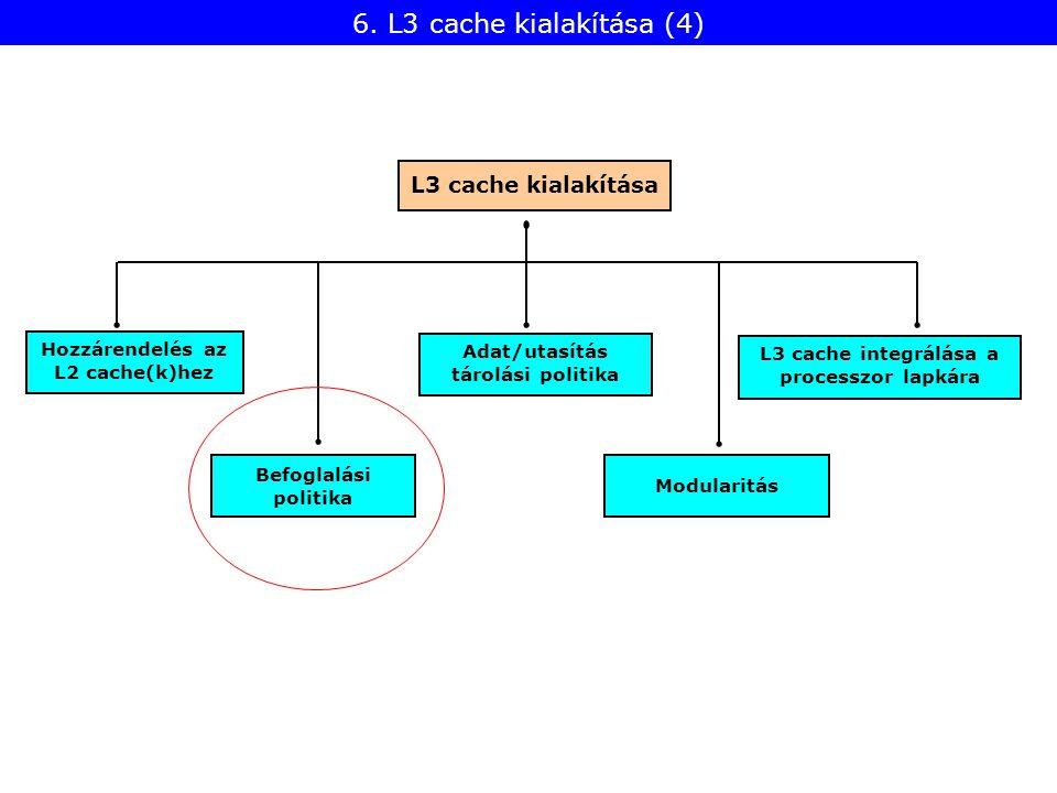 Befoglalási politika Hozzárendelés az L2 cache(k)hez Modularitás L3 cache kialakítása Adat/utasítás tárolási politika L3 cache integrálása a processzor lapkára 6.
