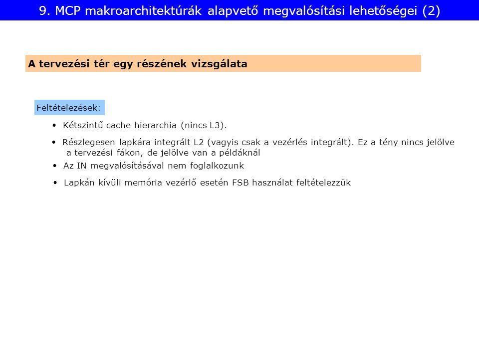 9. MCP makroarchitektúrák alapvető megvalósítási lehetőségei (2) A tervezési tér egy részének vizsgálata Feltételezések: Részlegesen lapkára integrált
